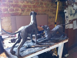 Rhodesian Ridgebacks sculpture