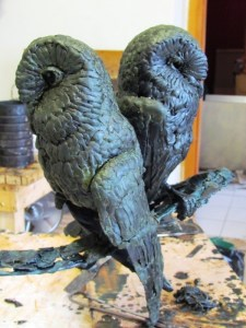 Barn Owls in wax for bronze