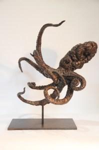 octopus,sculpture,Bronze octopus