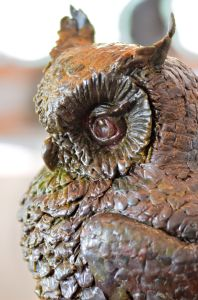 Owl sculpture,spotted eagle owl sculpture,owl statue
