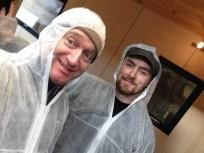 Stephen + Louis prepare to oil the floor