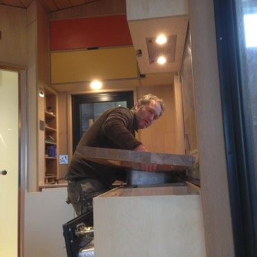 Stephen fitting the worktop