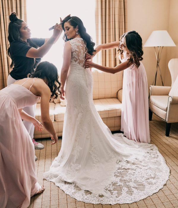 Bridal prep backlit wedding dress