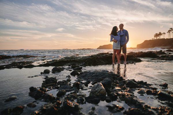 Sunset engagement portrait Montage Resort Beach
