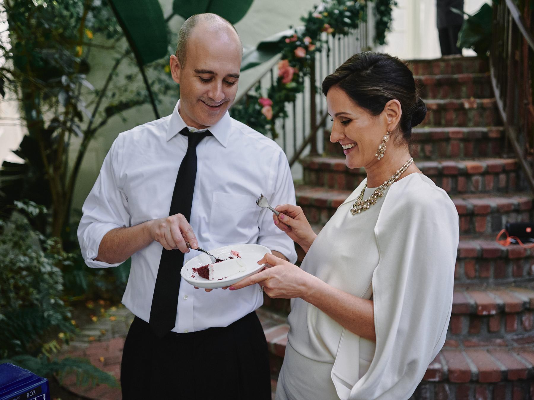 Sunset Marquis wedding cake cutting West Hollywood