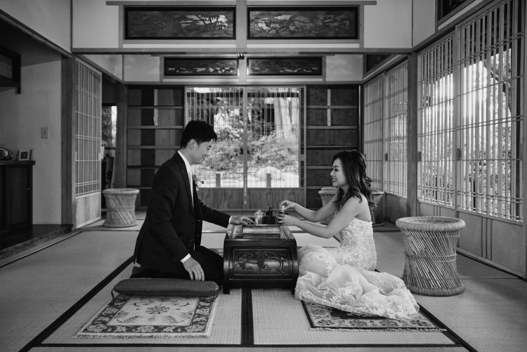 wedding portrait storrier stearns japanese garden pasadena black & white