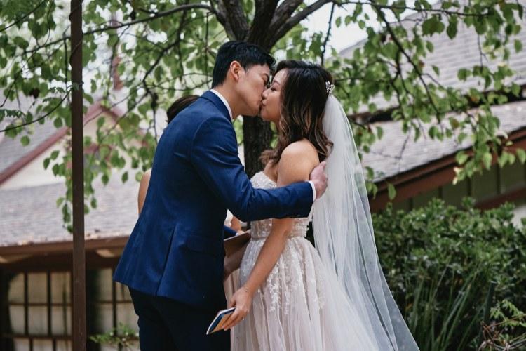 micro wedding ceremony storrier stearns japanese garden pasadena