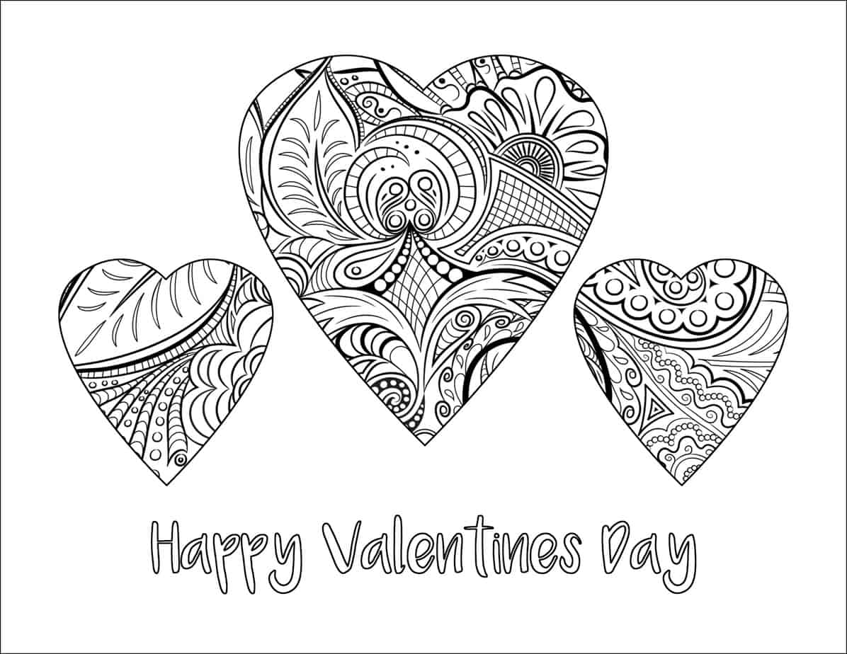 Happy Valentines Day Coloring Page