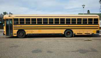 parked yellow school bus