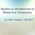 Review or Introduction to Rhetorical Vocabulary