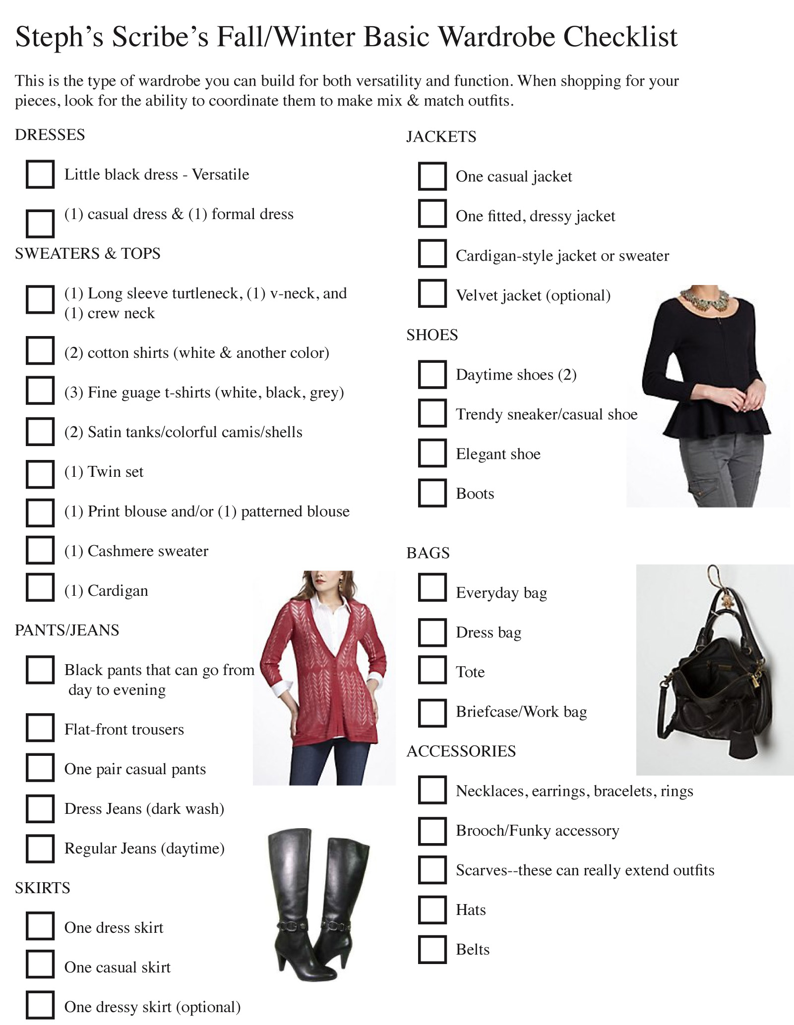 Fall Winter Wardrobe Checklist As We Continue Fashion Fridays