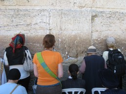 Saying a prayer at the Western Wall.
