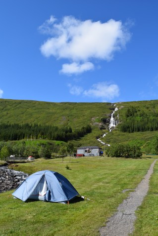 Our tent and the waterfall behind.