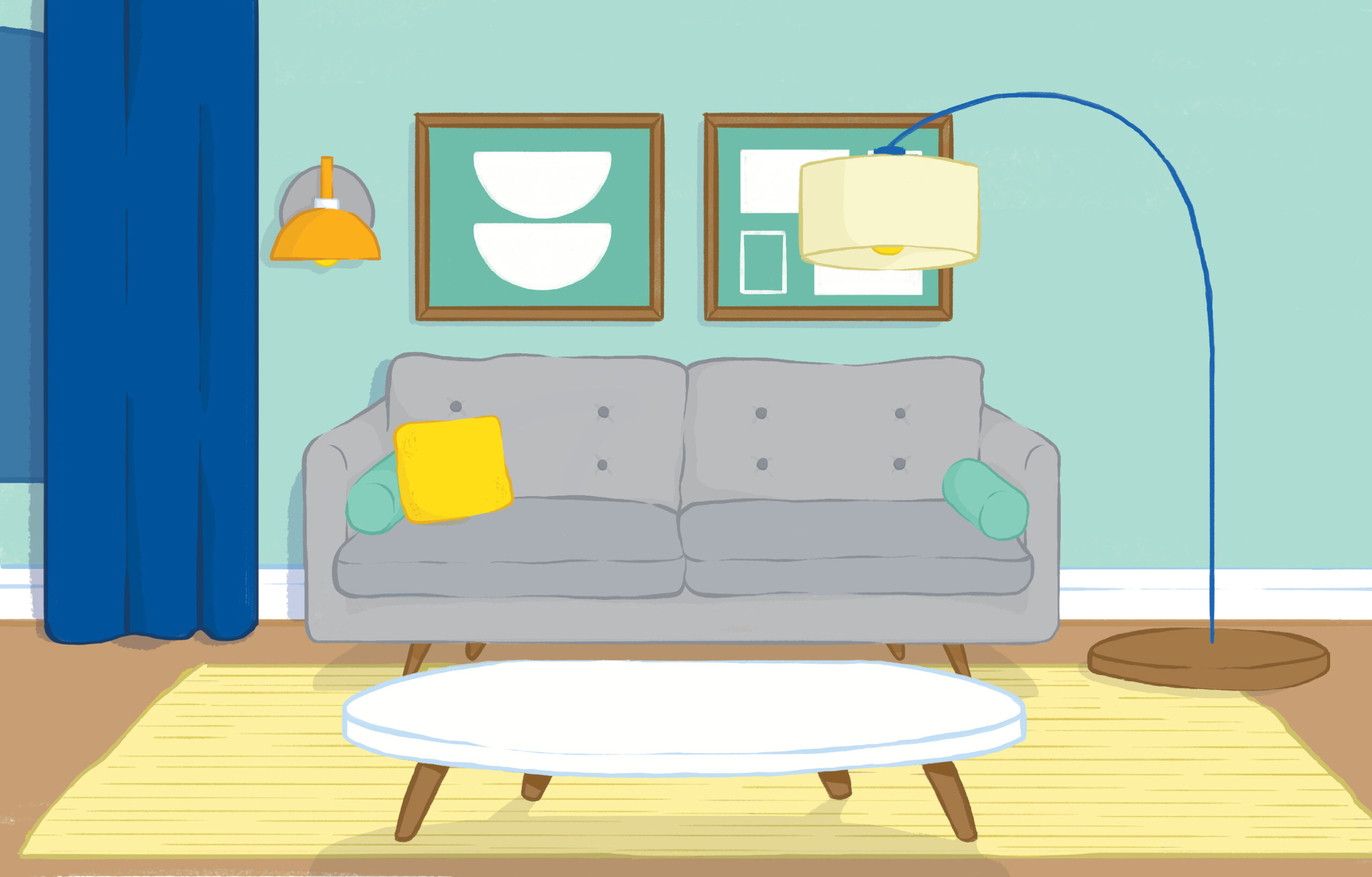 Illustration of home interior with this season's decor trends