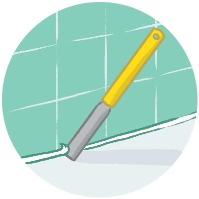 Illustration of scraping tool removing old caulking