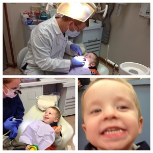 Our hygienists are wonderful with children. This is Dr. Stepka's 3-year-old son at his first dental cleaning.