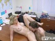 SpyFam Step son office anal fuck with step mom