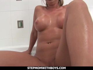 StepmomWithBoys Shower Sex Fun With My Hot And
