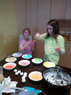 Making icing for Easter cookies