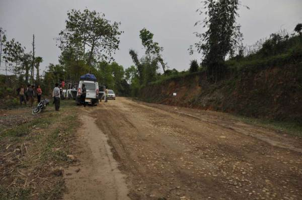 One of the checkpoints along the road from Sonari to Mon. Nagaland