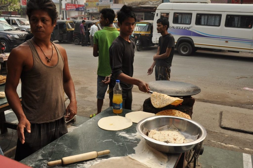 The parathas can be found in most of the restaurants and dhabas but are often available in street stalls, being a popular street food in Assam.