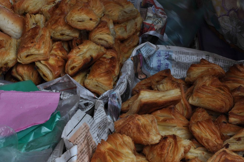 puff pastry filled with meat or vegetables. Basantapur, Durbar Square. Kathmandu