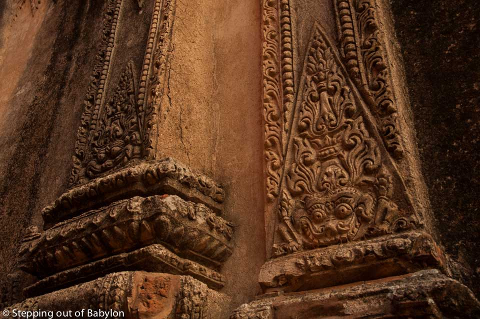 "Stone carving with traditional ""kanot"" decoration. Bagan, Mayanmar"