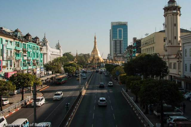 Sule Pagoda Road. The bus stand to Shwedagon Pagoda is located on the left side