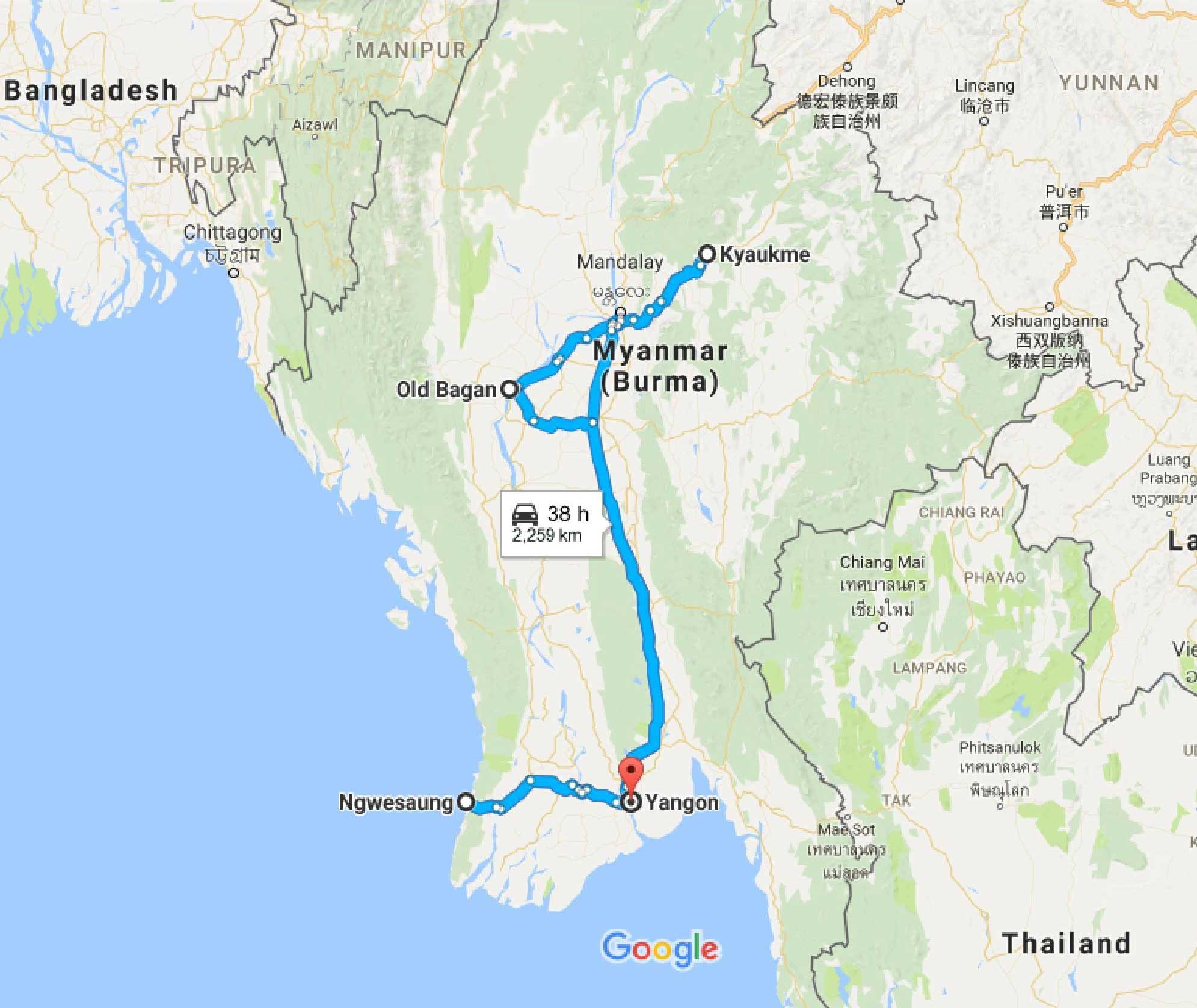 15 days in Myanmar: map, itinerary and costs