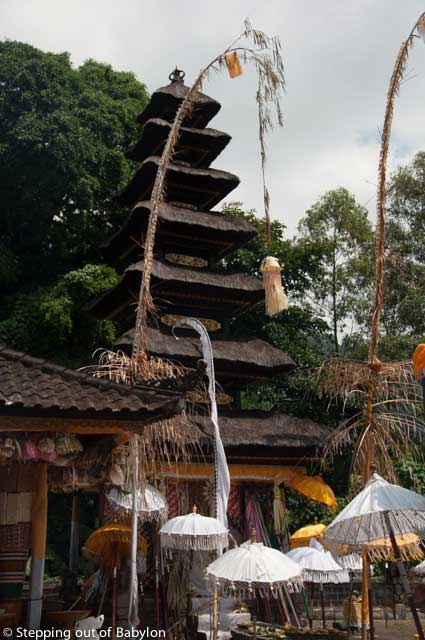 Temple nearby Kedisan during the Kuningan celebration