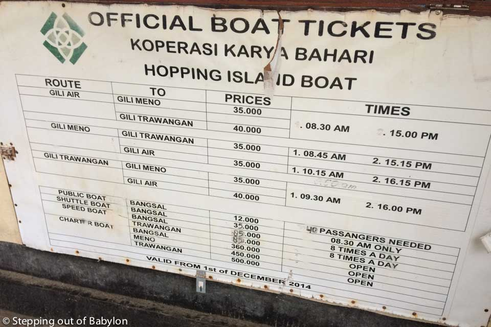 Schedules and prices from the boat from Gili Air to Bangal and the other Gilis