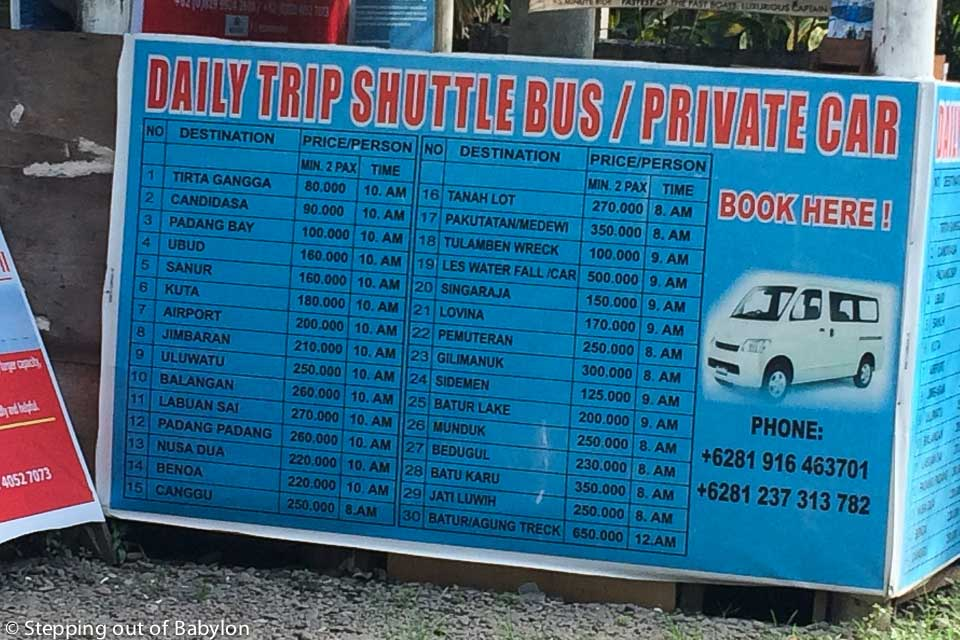 Schedules and prices of the shuttle from Amed to different destination in Bali