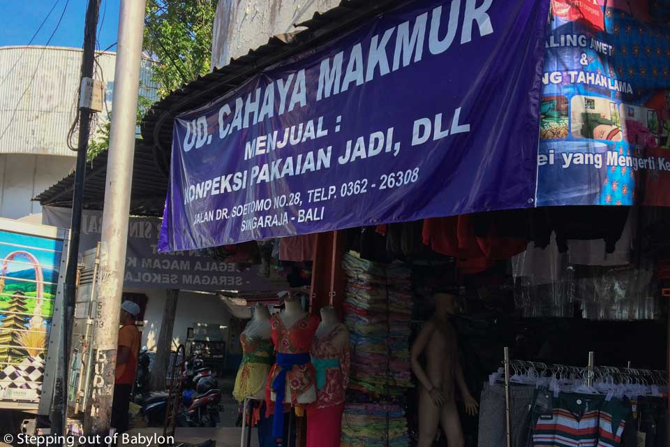 one of the shops around Pasar Anyar where you can find hand made ikat sarongs
