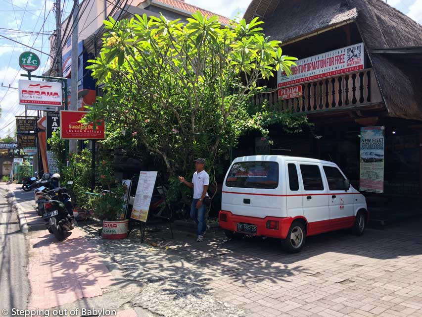 Perama office at Ubud, where you can buy the ticket and catch the bus to Pandangbai