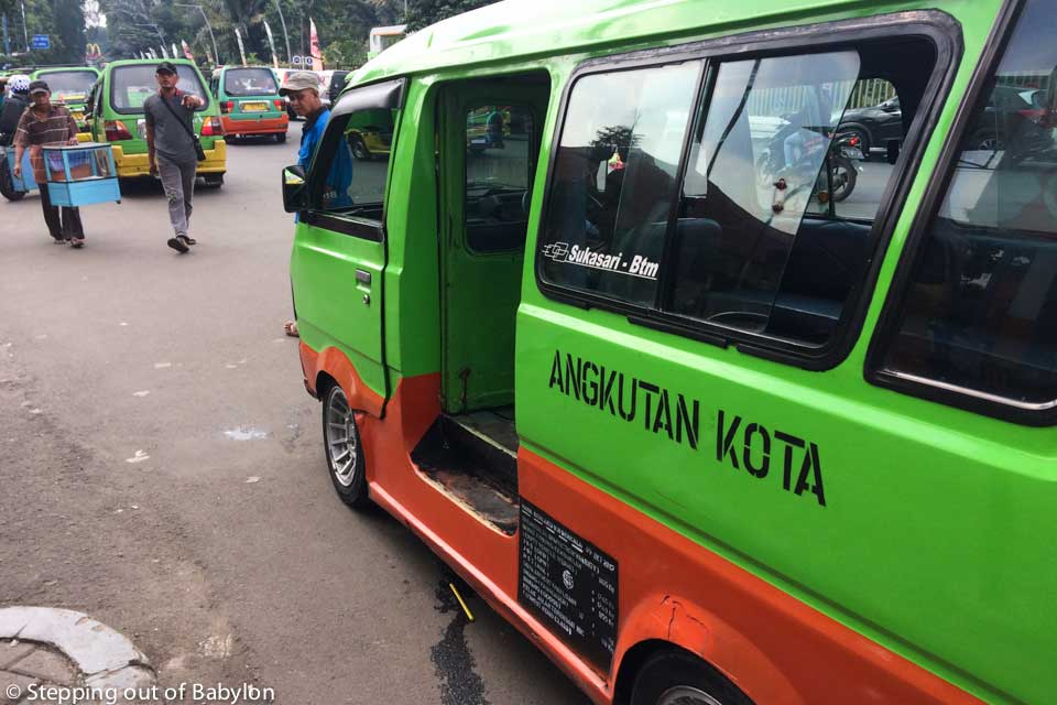 How to move around in Bogor: The angkot, mini-vans with green colour that are the most common public transport in Bogor.