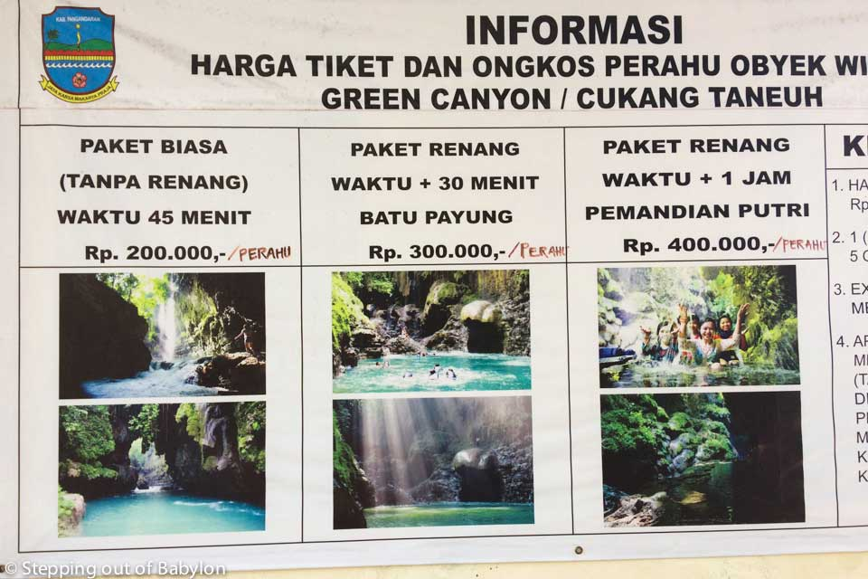 Green Canyon. Boat prices. Batu Karas