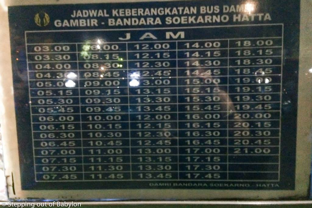 How to get from Jakarta city center to Jakarta International airport by public transport. DAMRI bus schedule