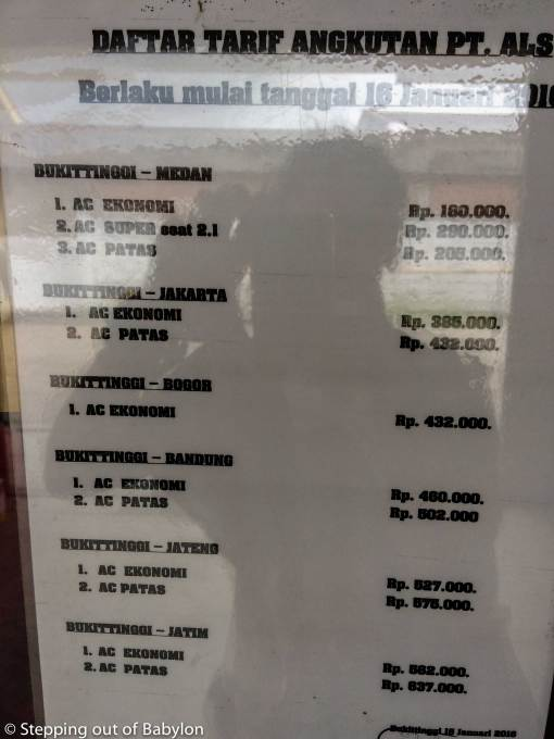 How to go from Bukittinggi to Lake Toba: ALS bus fees from Bukittinggi