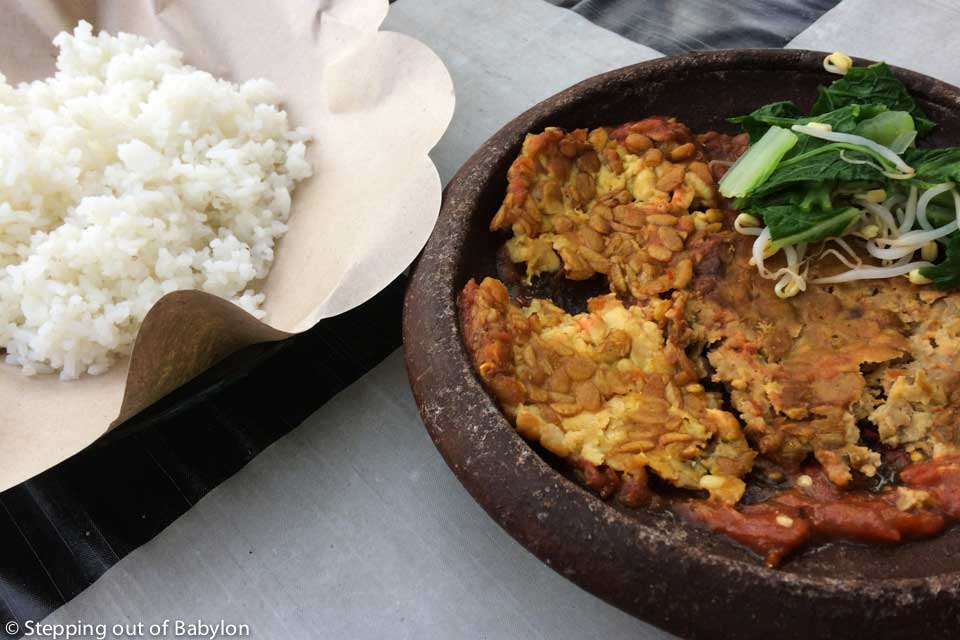 Tempeh served with sambal and rice