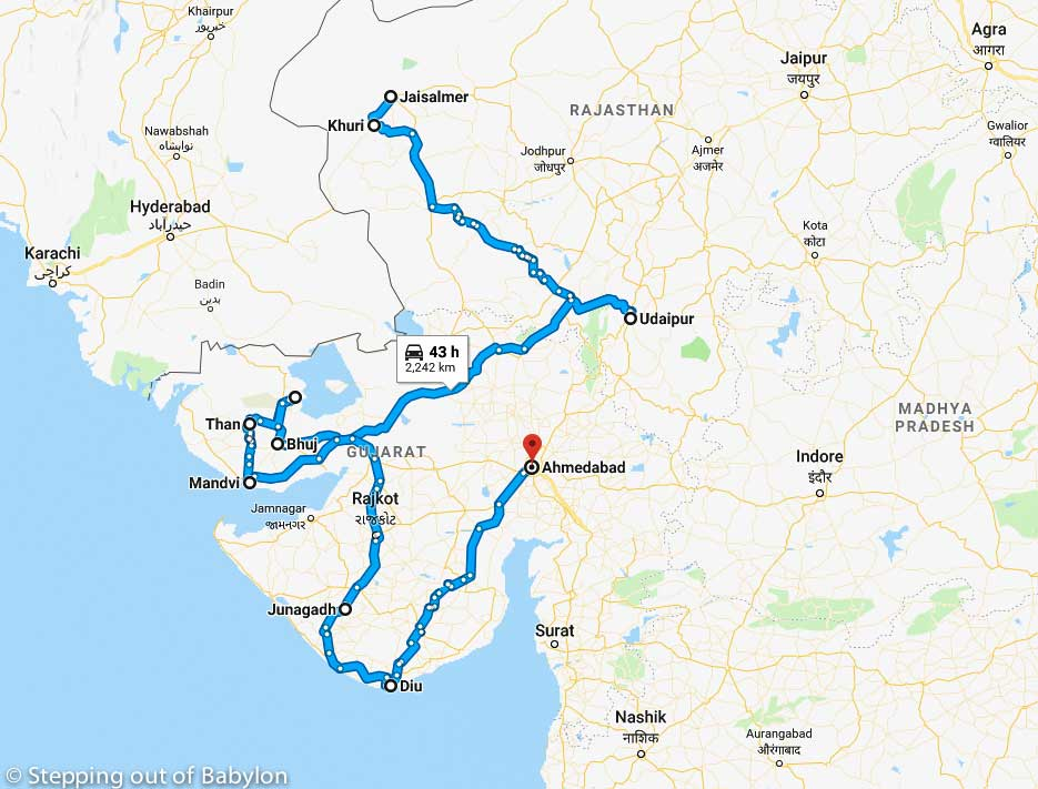 Gujarat & Thar Desert: map and itinerary – Stepping Out Of ... on map of india states, map of malaysia and singapore, map of iran and neighboring countries, map of ancient india, map of india and tibet, map of china and bordering countries, map of india with cities, map of india and sri lanka, world map with countries, map of nepal and tibet, map of japan and neighboring countries, map of asia, map of the country of india, map of india and mountains, map of africa, map of india now, map of india and singapore, map of countries surrounding china, map of austria with surrounding countries, map of india and saudi arabia,
