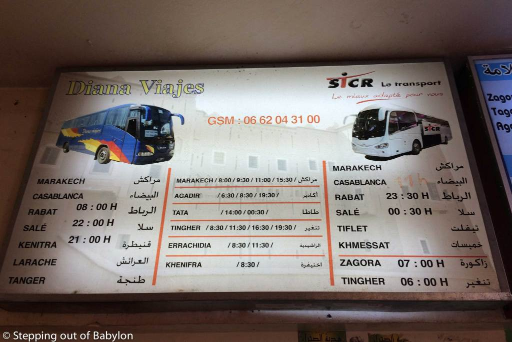 How to move out from Ouarzazate: Gare Routiere schedule