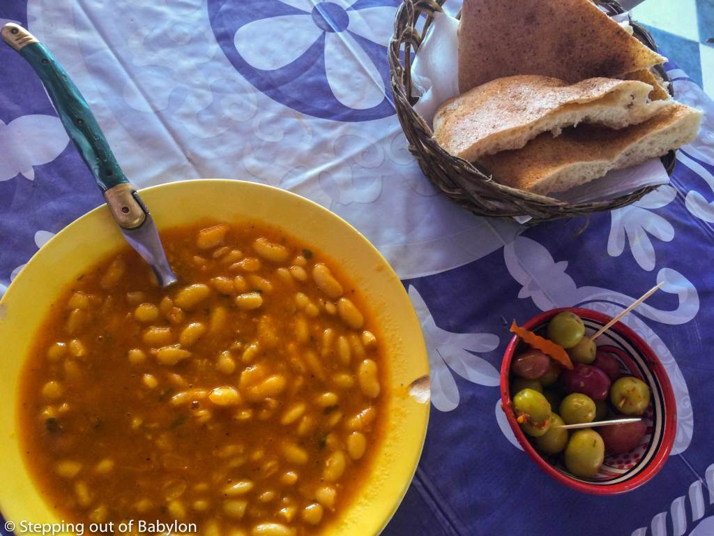 lubia, a white beans soup, served in one of the small eateries that you can find along the main road of Merzouga