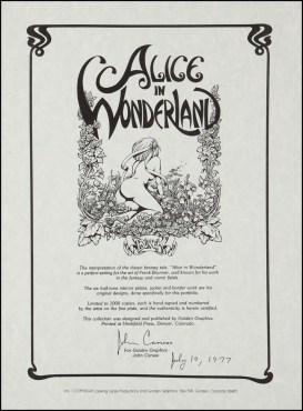 Alice in Wonderland Frank Brunner Back Cover