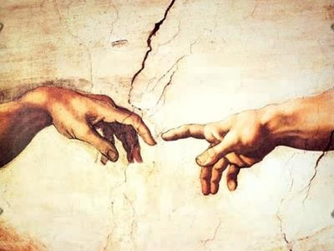 Image of a detail from the painting Michaelangelo's Creation of Adam that shows their forefingers almost touching. God's finger is reaching forward, Adam's seems to be a little bit lifted, but the wrist is limp.
