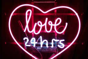Inside a heart the words love 24 hrs