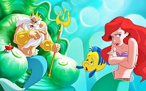 Walt-Disney-Book-Images-Sebastian-King-Triton-Flounder-Princess-Ariel-walt-disney-characters-37767703-500-313