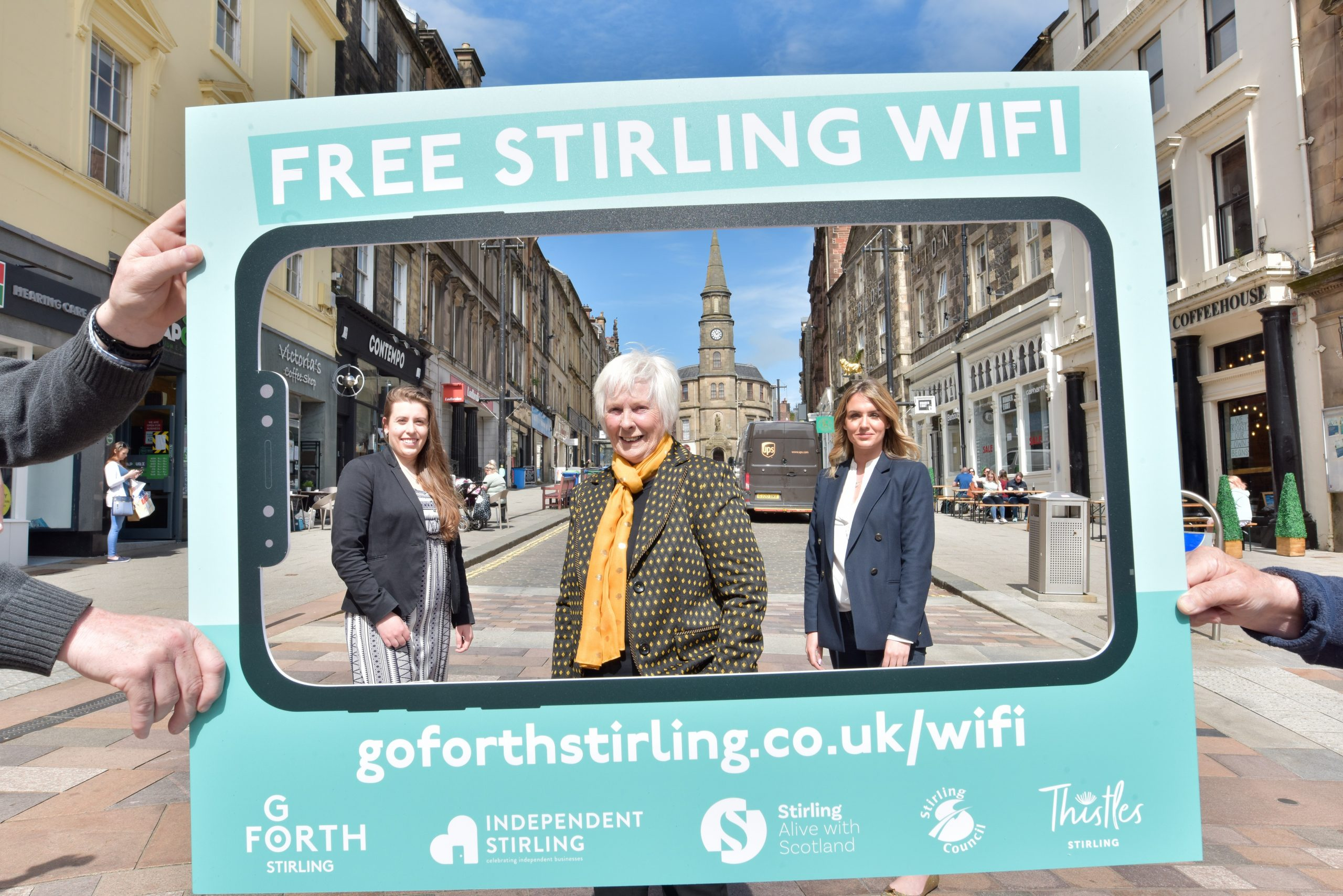 Members of the Go Forth team Jitka Fleglova and Danielle McRorie-Smith with Councillor Margaret Brisley on King Street to announce a new initiative of Free Wife in Stirling's Bid District.