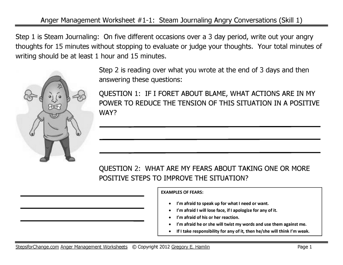 Skill 1 Anger Management Techniques And Worksheets Steam Journaling