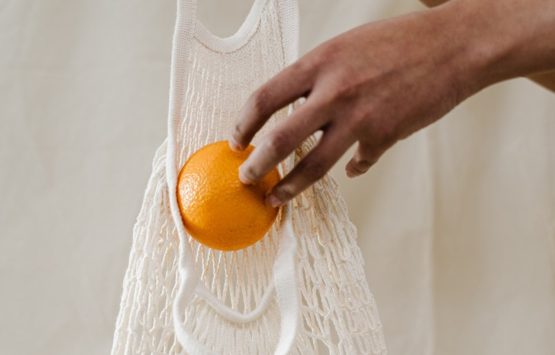 orange in reusable bag for everyday green living