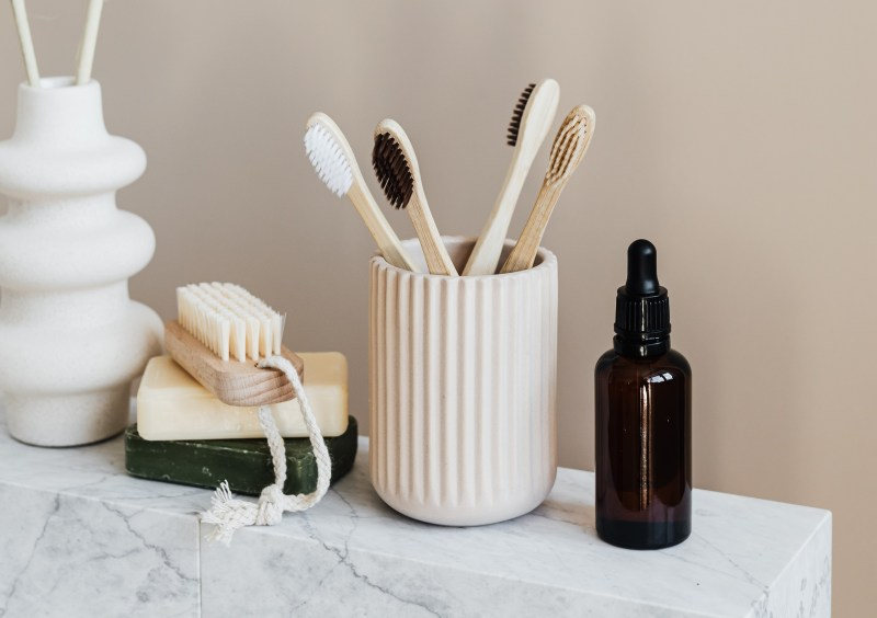 bathroom supplies on countertop